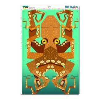 Geometric Octopus Orange Teal   Ocean Sea Creature Monster MAG NEATO'S(TM) Novelty Gift Locker Refrigerator Vinyl Puzzle Magnet Set: Kitchen & Dining