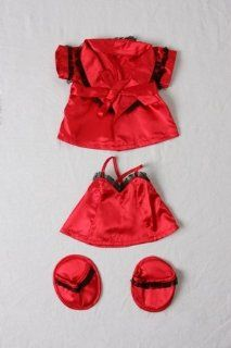 "Red Silk Nightie w/Robe & Slippers Pajamas Outfit Teddy Bear Clothes Fits Most 14""   18"" Build A Bear, Vermont Teddy Bears, and Make Your Own Stuffed Animals: Toys & Games"