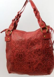 Fossil Colby Embossed Leather Hobo Tote Red Original Price $158.00: Clothing
