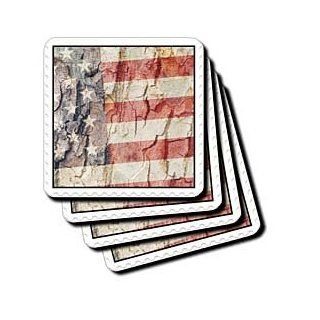 3dRose cst_28141_1 American Flag Postage Stamp Soft Coasters, Set of 4