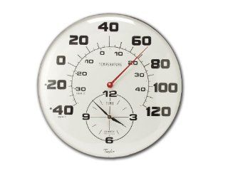 Taylor 162 18 Inch Metal Thermometer and Clock: Patio, Lawn & Garden