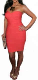 Blingbelle Strapless Coral Slim Sexy Cocktail Dress at  Women�s Clothing store