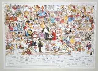 Rare Original 1985/1986 Voice For Children Sunday Comic Strip 1980's Charity Poster with 172 Sunday Newspaper Funnies Characters by 69 Artists: Spider man, Captain America, Little Orphan Annie, Mickey Mouse, Donald Duck, Dick Tracy, Groo, Hagar the Hor
