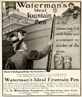 1905 Ad LE Waterman Ideal Fountain Pen 173 Broadway New York Writing Travel Ship   Original Print Ad