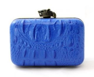 House of Harlow 1960 Women's Marley Croc Clutch One Size Cobalt: Clothing