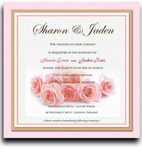 175 Square Wedding Invitations   Pink Passion Roses: Office Products