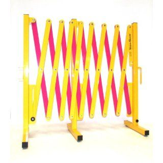 "Versa Guard VG 5015 Aluminum/Steel Expandable Portable Safety Barricade with Stationary Feet, 37"" Height, 20"" to 182"" Expanded Width, Yellow/Magenta: Industrial Safety Chain Barriers: Industrial & Scientific"
