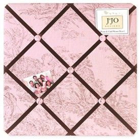 Pink and Brown Toile Fabric Memo Board by Sweet Jojo Designs   French Toile Fabric Memo Boards