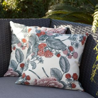 Bornos Berries Clay Outdoor Water Repellent Fiber Pillow   17 x 17 in.   Outdoor Pillows