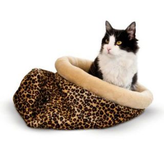 K&H Pet Products Self Warming Kitty Sack Leopard   17 x 17.5 x 4.5 in.   Cat Beds