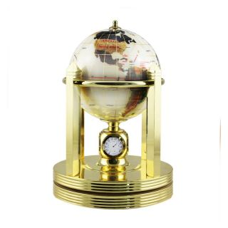 Pearl Gemstone 5.9 in. diam. Clock Stand Desktop Globe   Gemstone Globes