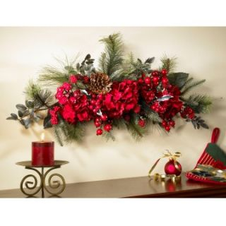 30 Inch Holiday Hydrangea Swag   Christmas Swags