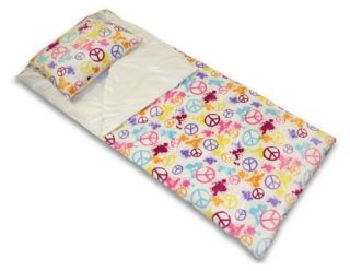 Splatter Peace Signs Printed Microplush Juvenile Sleeping Bag with Attached Pillow   Playhouse Furniture