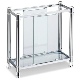 Chrome & Glass Contemporary Magazine Rack   Home Magazine Racks