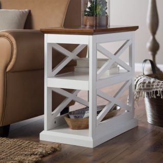 Belham Living Hampton Chair Side Table   White/Oak   End Tables