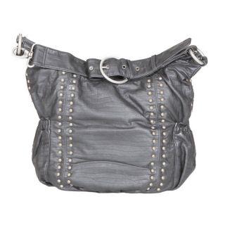 OiOi Silver Studded Leatherette Hobo Sack Diaper Bag   Designer Diaper Bags