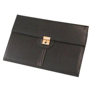 Bond Street Ltd Leather Look Legal Size Key Lockable Underarm Writing Case   Black   Business Accessories
