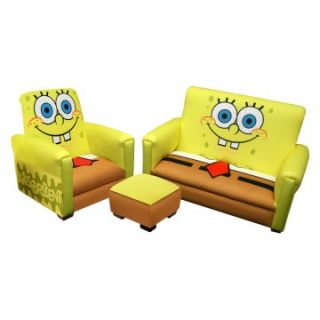 Nickelodeon Sponge Bob Deluxe Toddler Sofa with Chair and Ottoman Set   Kids Arm Chairs