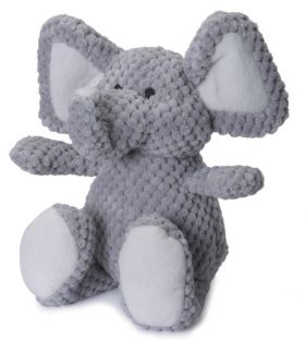 GoDog Checkered Plush Elephant Dog Toy with Chew Guard   Accessories