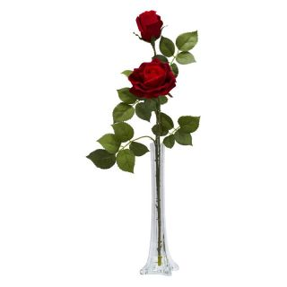 Roses with Tall Bud Vase Silk Flower Arrangement   Silk Flowers