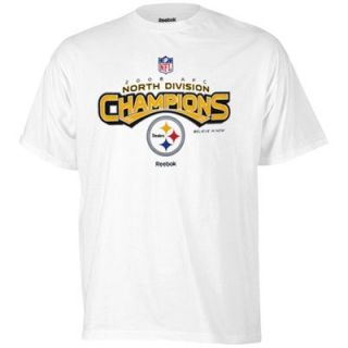 Reebok Pittsburgh Steelers 2008 AFC Division Champions Locker Room T Shirt   White