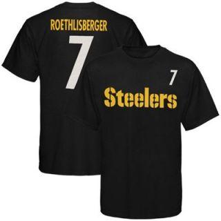 Reebok Pittsburgh Steelers #7 Ben Roethlisberger Youth Black Player T shirt
