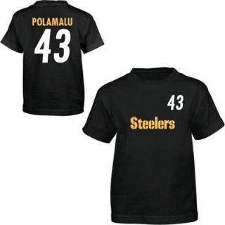 Reebok Pittsburgh Steelers #43 Troy Polamalu Youth Black Player T shirt