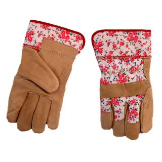 Jemcor Ladies Printed Full Grain Cow Palm Lined With 2.25 in. Band Top Heavy Duty Work Glove   Work Gloves