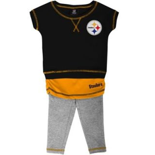 Pittsburgh Steelers Infant Girls Crew T Shirt & Leggings Set   Black/Gold/Ash