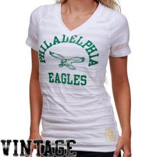 Reebok Philadelphia Eagles Ladies White Retro Burnout Stripe T shirt