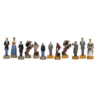 American Civil War Hand Painted Marble Chessmen   Chess Pieces