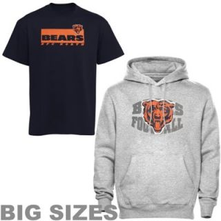 Chicago Bears Big Sizes Hoodie & T Shirt Combo Pack   Navy Blue/Ash