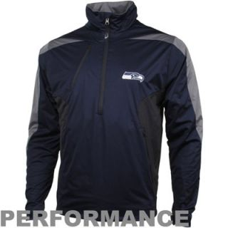 Antigua Seattle Seahawks Discover Half Zip Jacket   College Navy