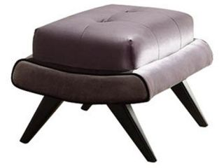 Armen Living 5th Avenue Ottoman   Gray Fabric with Ebony Wood Legs   Ottomans