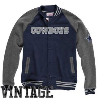Mitchell & Ness Dallas Cowboys Backward Pass Button Up Jacket   Navy Blue/Charcoal