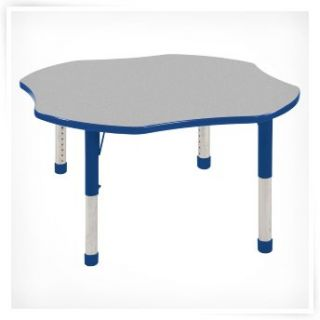 ECR4KIDS 48 in. Maple Top Clover Adjustable Activity Table   Chunky Legs   Daycare Tables & Chairs