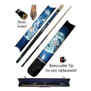 Blue Dragon Billiard Pool Cue Stick with Case   Pool Cues
