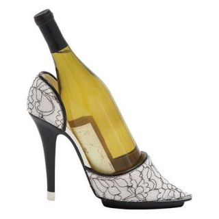 Woodland Imports Black & White Swirl Print Stiletto Shoe Wine Holder   Wine Racks