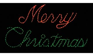 32 in. Outdoor LED Red and Green Merry Christmas Sign Lighted Display   300 Bulbs   Christmas Lights