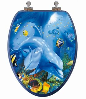 Topseat 13DCPDPH Dolphin Family Elongated 3D Toilet Seat   Toilet Seats