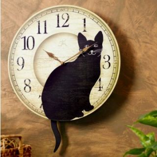 Infinity Instruments Wagging Cat Tail Pendulum 14 Inch Wall Clock   Wall Clocks
