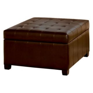 Fiona Tufted Leather Storage Ottoman   Ottomans