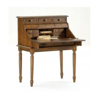 Bernards Ornate Dark Pecan Secretary Desk   Writing Desks