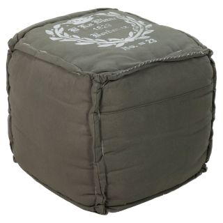 Surya 18 in. Cube Cotton Pouf   Hunter Green   Ottomans