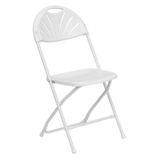 Hercules Series Fan Back Folding Chair   White   Card Tables & Chairs