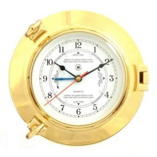 Bey Berk International Brass Porthole Tide/Time Clock   Tarnish Proof   Wall Clocks