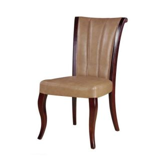 Channel Tan Leather Dining Chairs   Set of 2   Dining Chairs