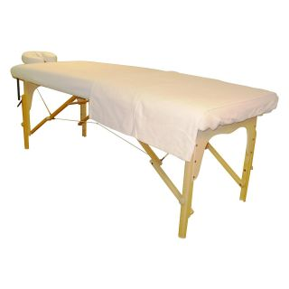 Sivan Health and Fitness Massage Table White Flannel Sheet and Face Cover Set   Massage Tables