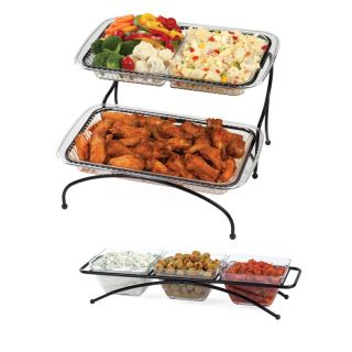 Creative Bath 2 Tier Buffet Server with 3 Bowl Condiment Server   Serving Platters