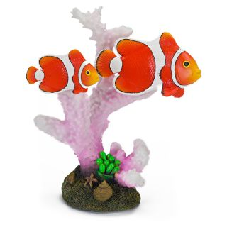 Penn Plax 6 in. Clown Fish and Coral Aquarium Decor   Aquarium Plants & Decorations
